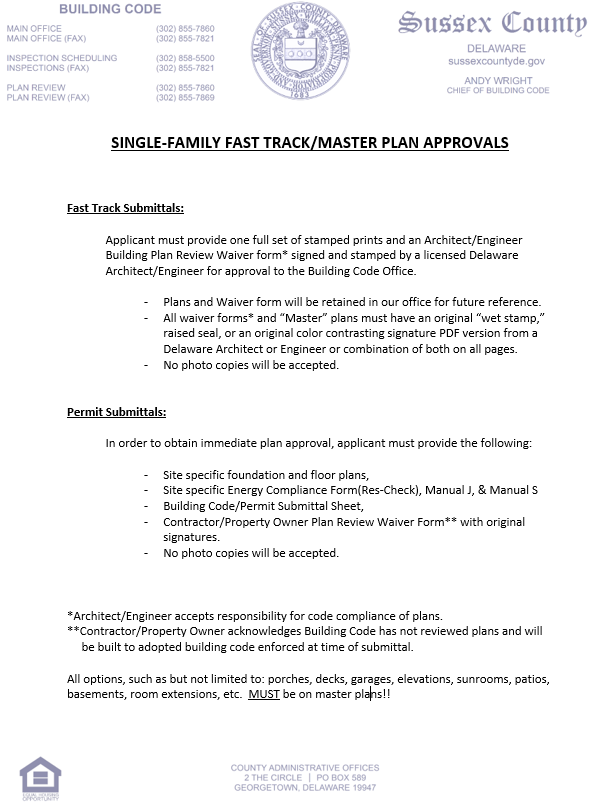 Image of Single Family Fast Track Instructions