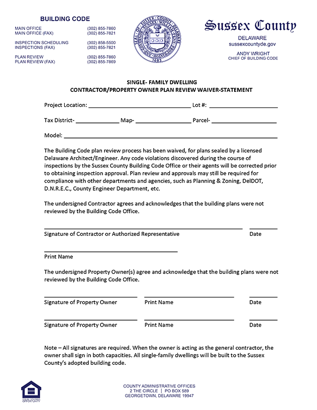 Image of contractor or property owner plan review waiver statement