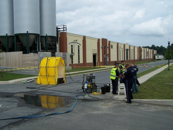 Decon Setup at Dogfish Brewery